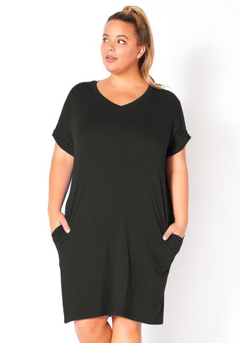 Plus Size V Neck Shirt Dress With Pocket