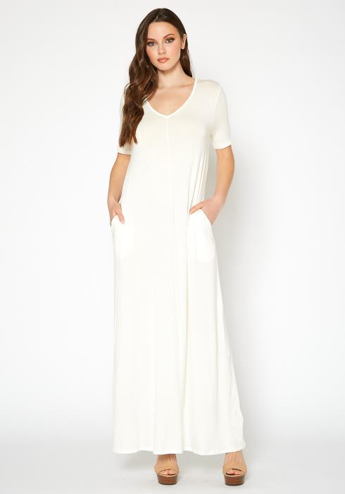 Bellatrix Womens V-Neck Short Sleeve Maxi Dress With Pockets