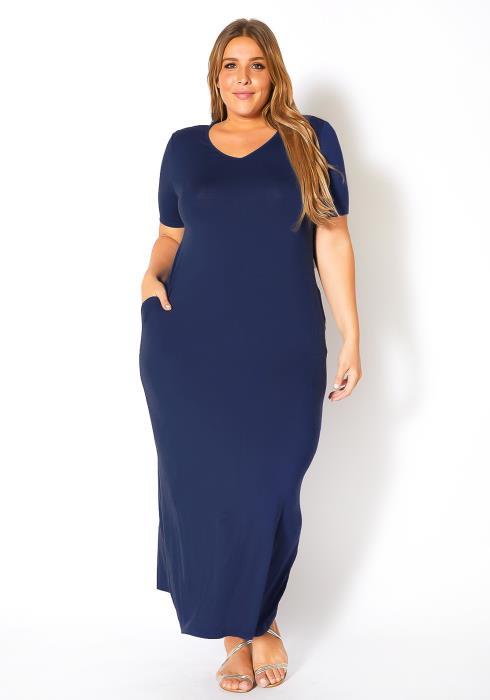 Plus Size V-Neck Short Sleeve Maxi Dress With Pockets