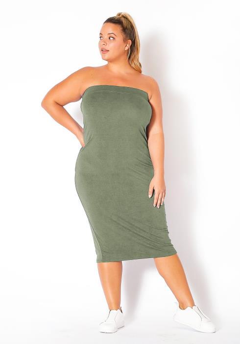 Bellatrix Plus Size Tube Fit Bodycon Midi Dress