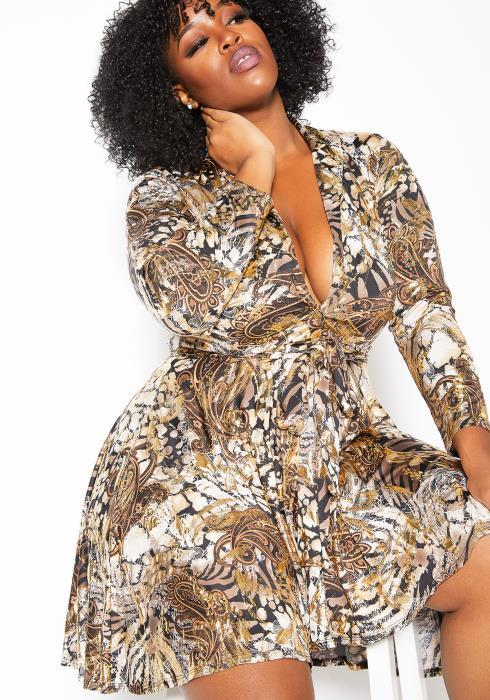 Asoph Plus Size Antique Patterned Womens Fit & Flare Mini Dress