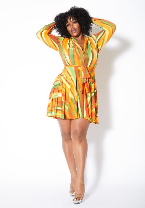 Asoph Plus Size Tropical Gradients Fit & Flare Womens Mini Dress
