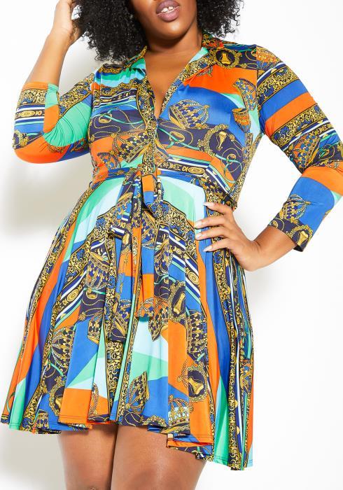 Asoph Plus Size Grandeur Printed Womens Fit & Flare Mini Dress