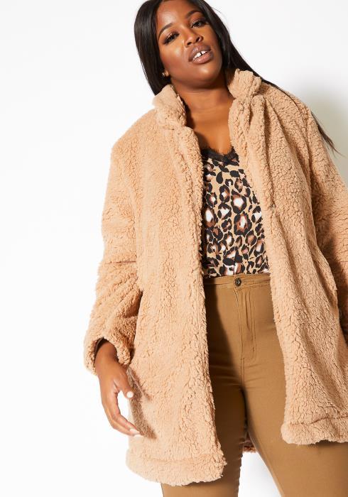 Asoph Plus Size Warm Teddy Notch Collar Womens Coat