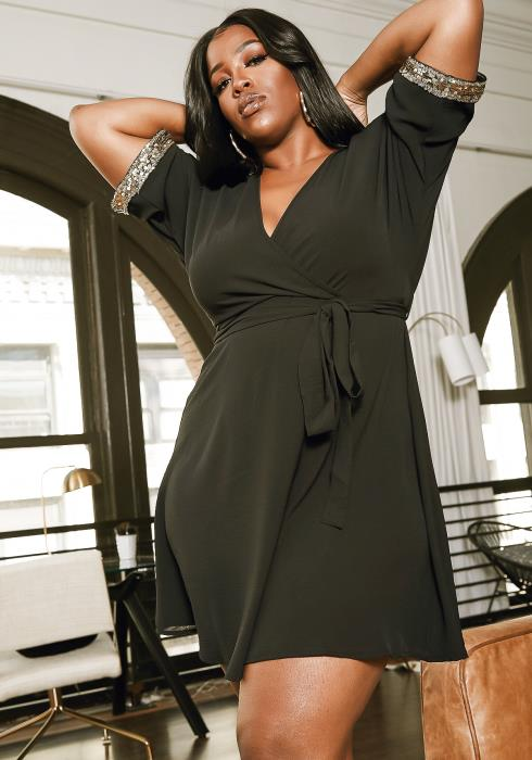 Asoph Plus Size Touch Of Sequin Sparkle Dress