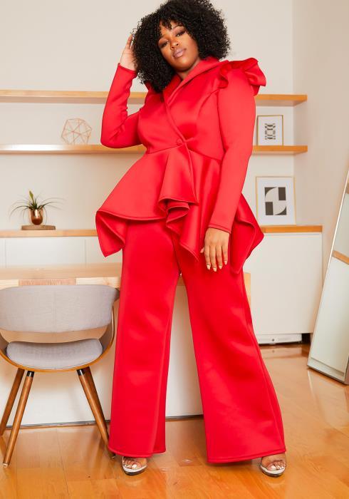 Asoph Curvy Womens Outstanding Asymmetric Peplum Top & Straight Pants Set
