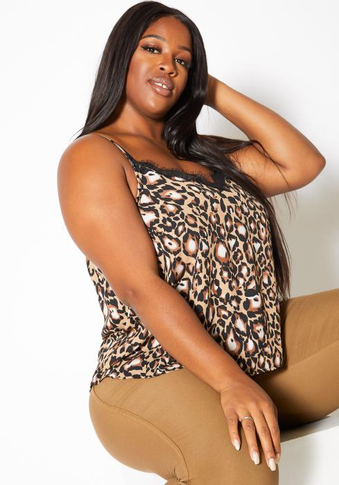 Asoph Plus Size Womens Leopard Lace Trim Cami Top