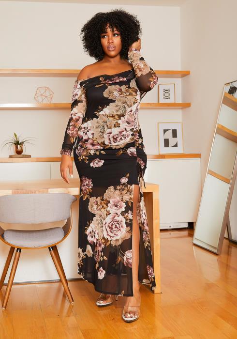 Asoph Plus Size Vintage Floral Off The Shoulder Womens Maxi Dress