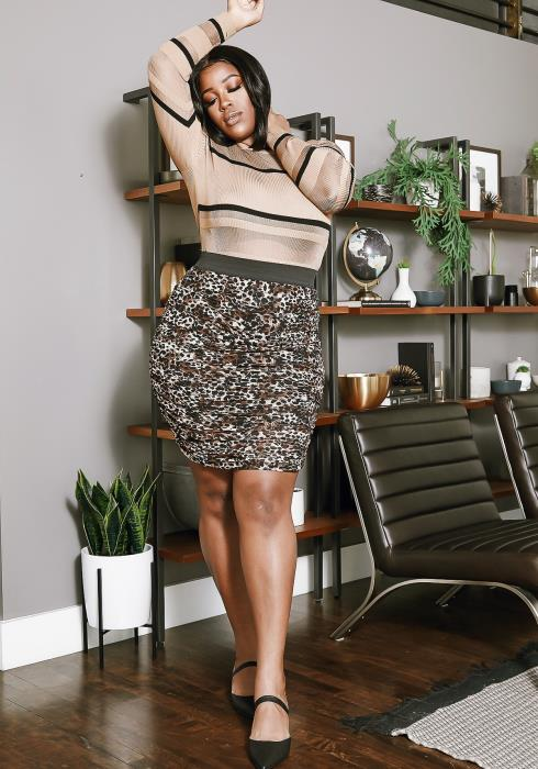 Asoph Plus Size Ruched Leopard Pencil Skirt