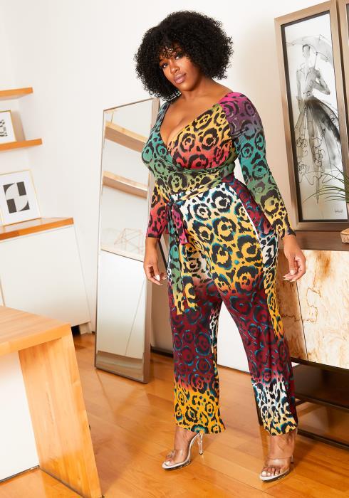 Asoph Plus Size Wild Love Leopard Print Womens Jumpsuit