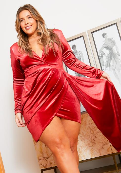 Asoph Curvy Womens Dare to Touch Velvet Party Dress