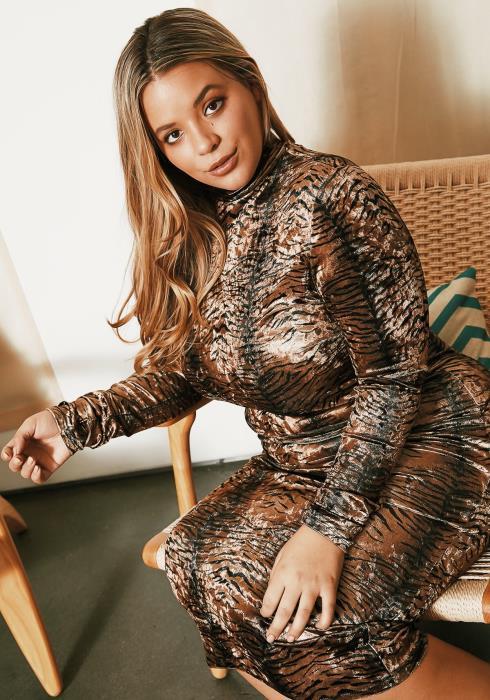 Asoph Plus Size Animal Velvet Bodycon Dress
