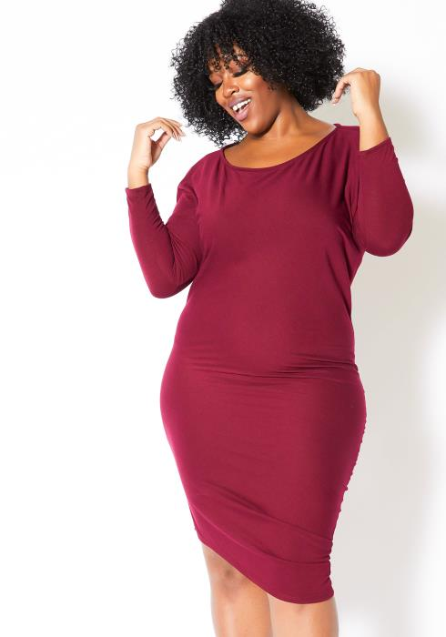Asoph Plus Size Simple Womens Fitted Long Sleeve Midi Dress