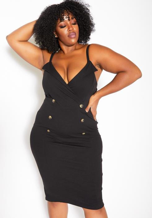 Asoph Plus Size Womens Notched V Neck Bodycon Midi Dress
