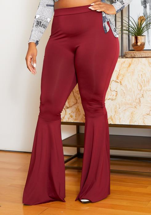 Asoph Curvy Womens High Waist Burgundy Fitted Flare Pants
