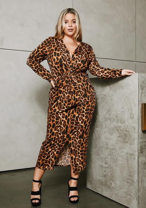 Asoph Plus Size Fierce Cheetah Maxi Dress