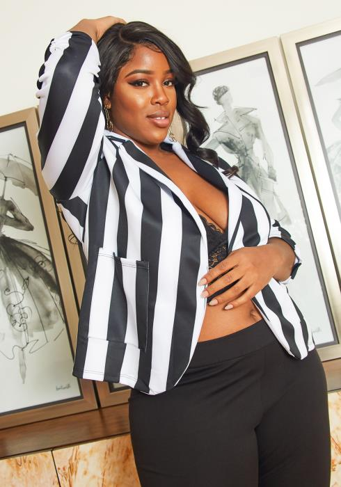 Asoph Plus Size Black White Stripe Blazer