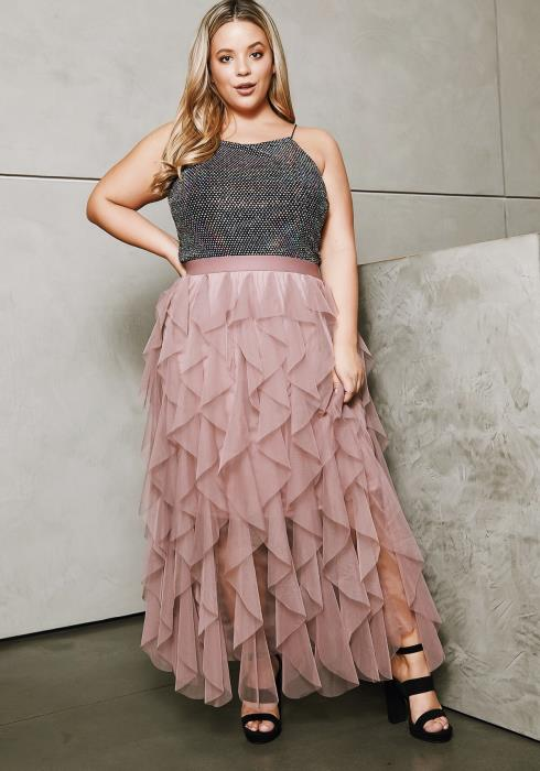 Asoph Plus Size Twirl Swirl Maxi Mesh Skirt