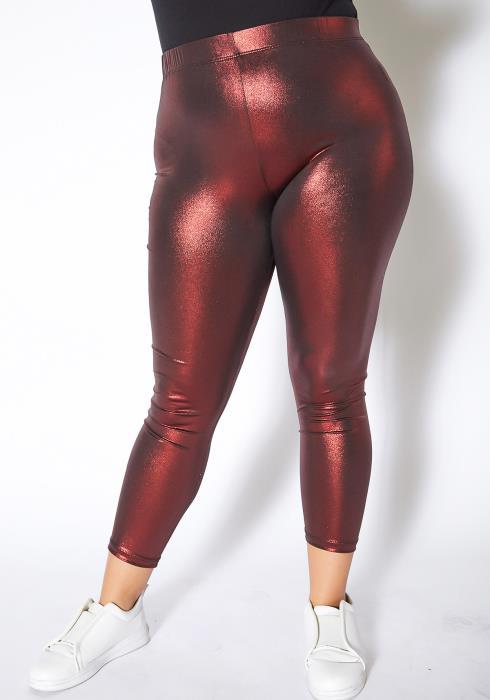 Asoph Plus Size Metallic Ruby Leggings Pants