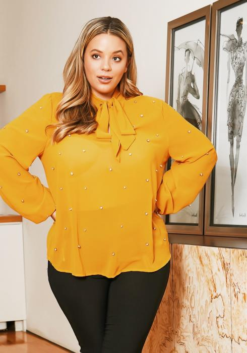 Asoph Plus Size Pearl Tie Neck Blouse