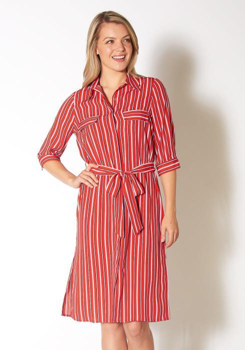 Pleione Striped Button Down Shirt Dress