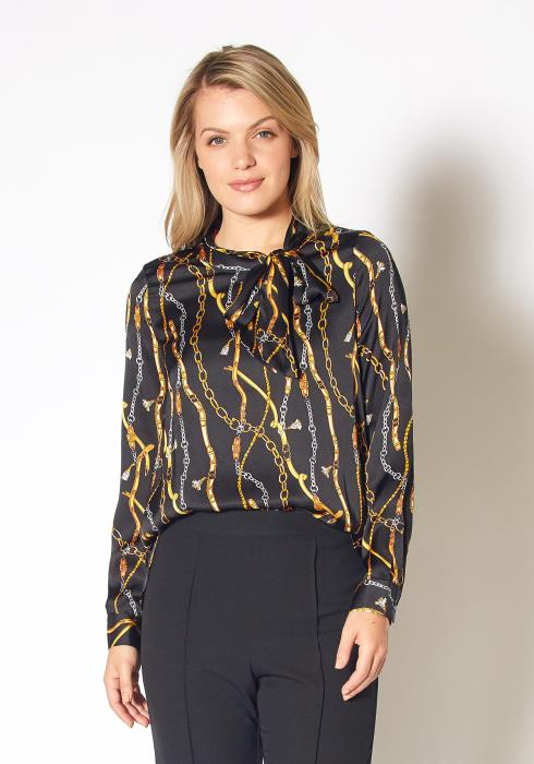 Pleione Chained Print Scarf Tie Blouse