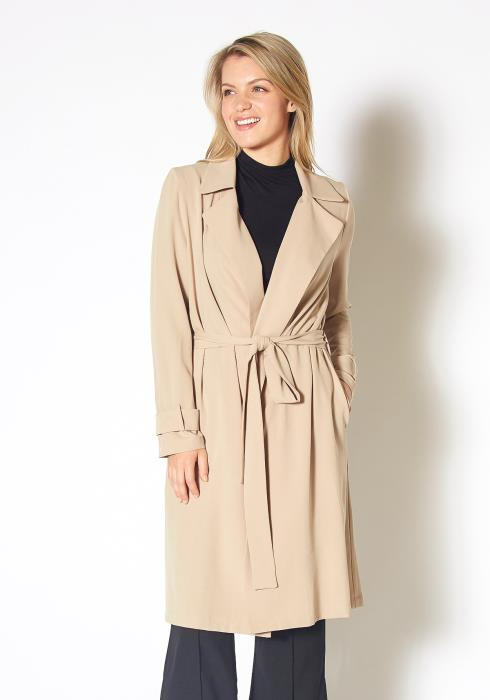 Pleione Tie Waist Light Trench Coat