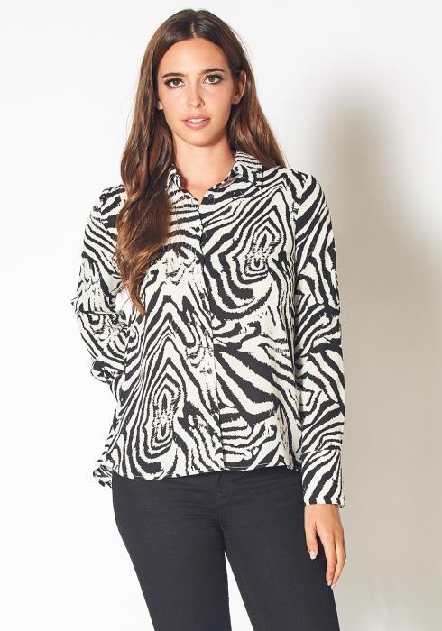 Pleione Zebra Button Up Shirt Blouse