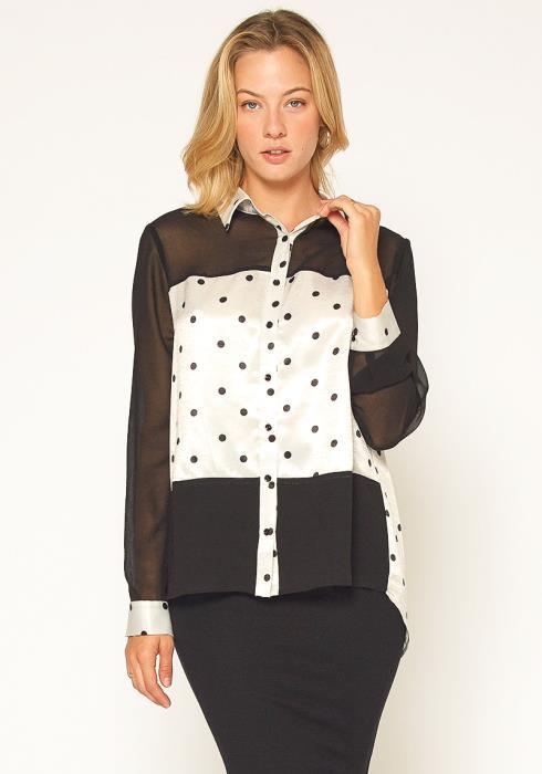 Pleione Polkadot Mesh Button Up Shirt Blouse
