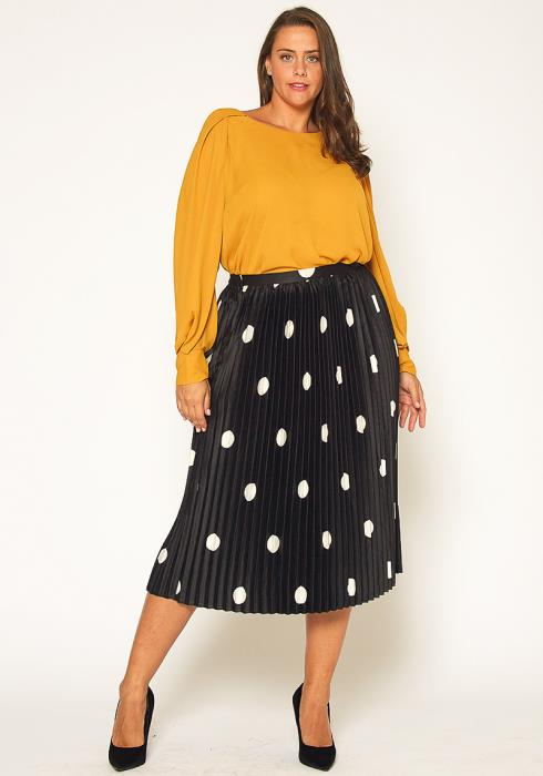 Pleione Plus Size Pleated Polkadot Midi Skirt