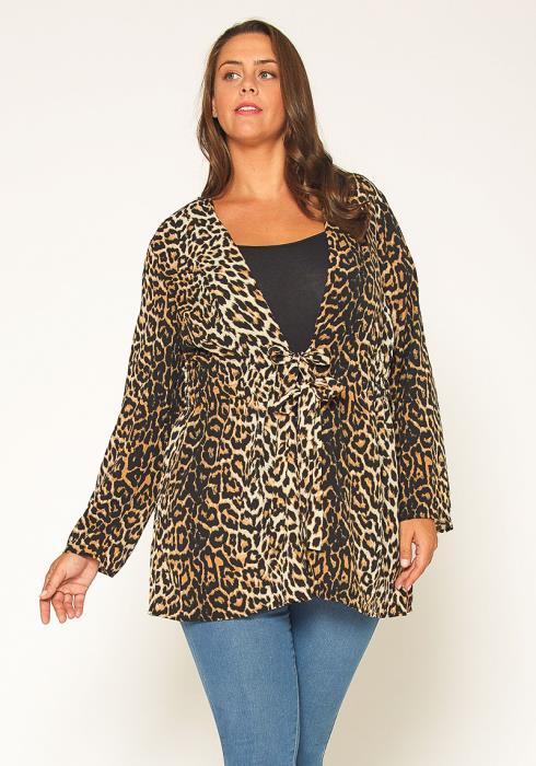 Pleione Plus Size Leopard Tie Front Top