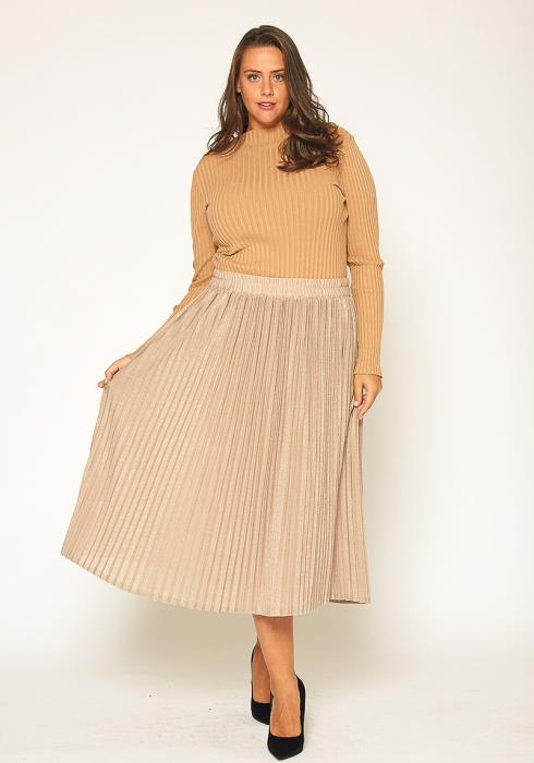 Pleione Plus Size Lurex Pleated Maxi Skirt