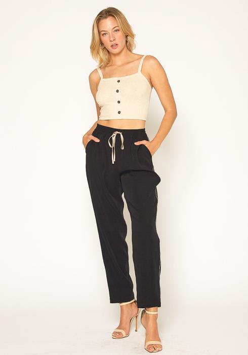 Pleione Womens Satin Drawstring Pants