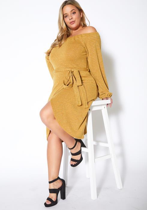 Asoph Plus Size Metallic Stripe Off Shoulder Wrap Dress
