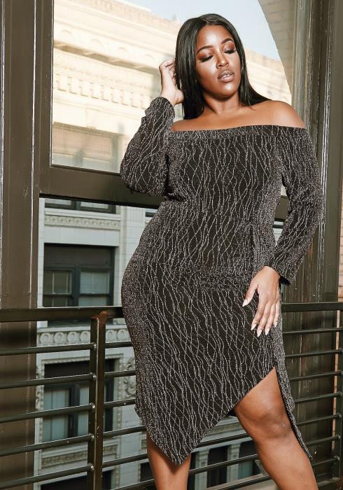Asoph Plus Size Dazed Lurex Party Dress