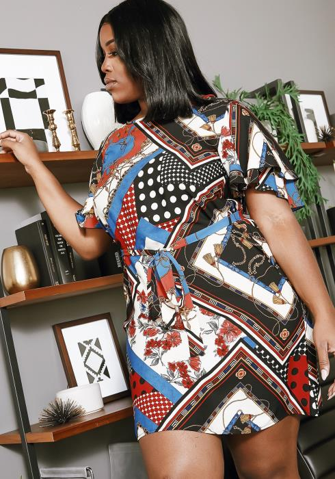 Asoph Plus Size Multi Print Scarf Dress