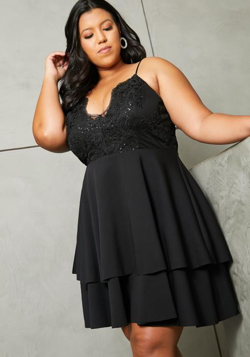 Asoph Plus Size Lacey Ruffle Fit Flare Dress
