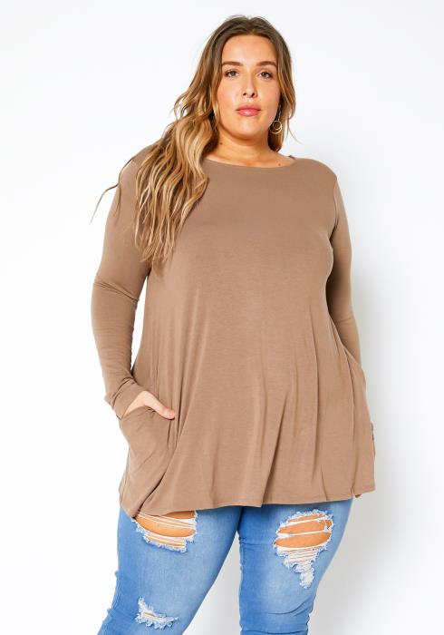 Asoph Plus Size Pocketful Womens Long Sleeve Top