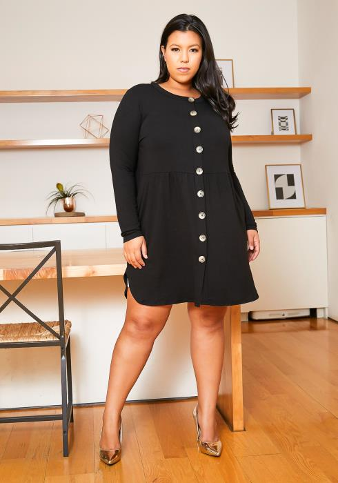 Asoph Plus Size Button Front Tunic Dress
