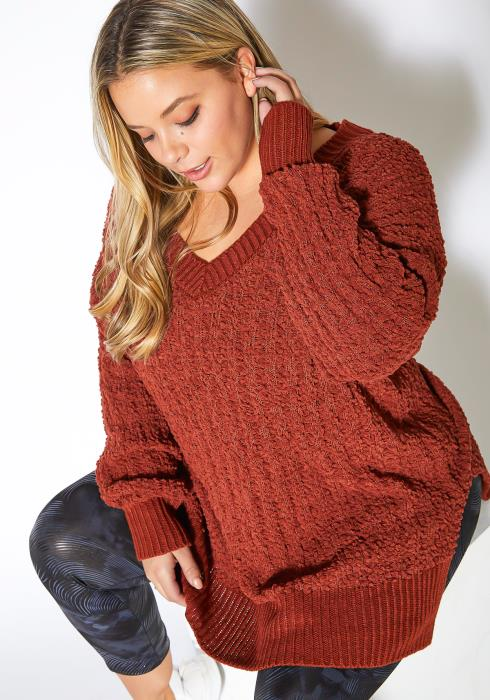 Asoph Plus Size Loose Knit Oversize Tunic Sweater Top
