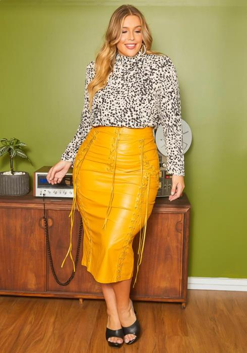 Asoph Plus Size Dramatic Cross Laced Faux Leather Maxi Pencil Skirt