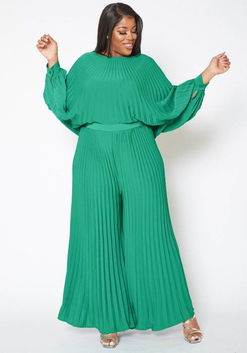 Asoph Plus Size Full Pleated Batwing Top & Straight Pants Set