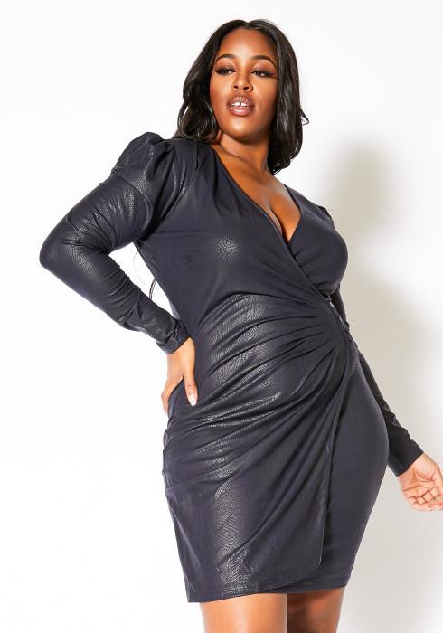 Asoph Plus Size Deep Blue Pebbled Womens Party Mini Dress