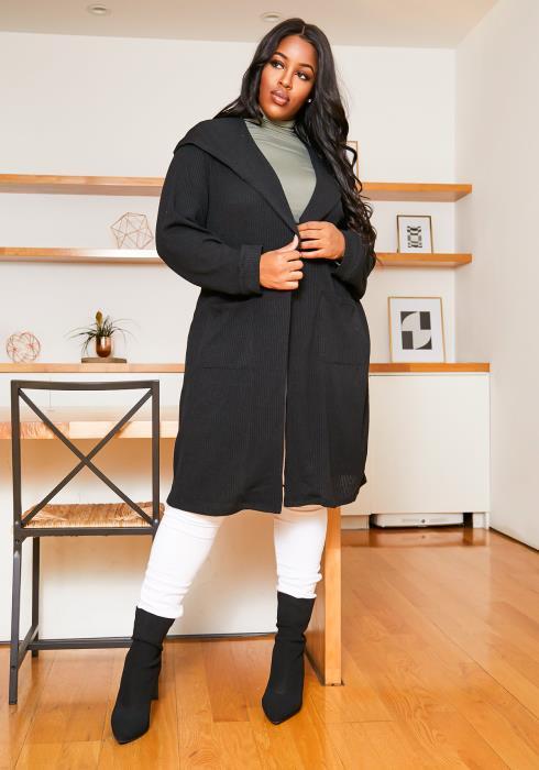 Asoph Plus Size Cross Lace Back Womens Hooded Longline Cardigan