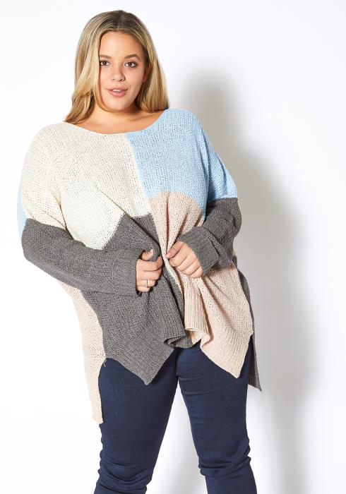 Asoph Plus Size Soft Hued Color Block Womens Loose Knit Sweater
