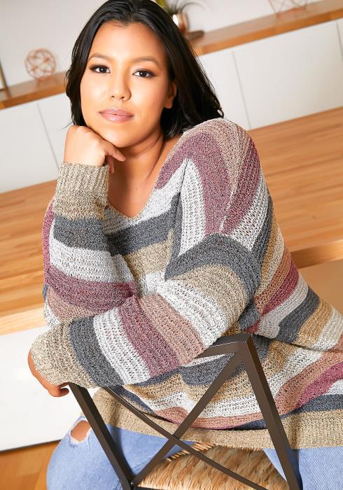 Asoph Plus Size Oversized Stripe Sweater Top