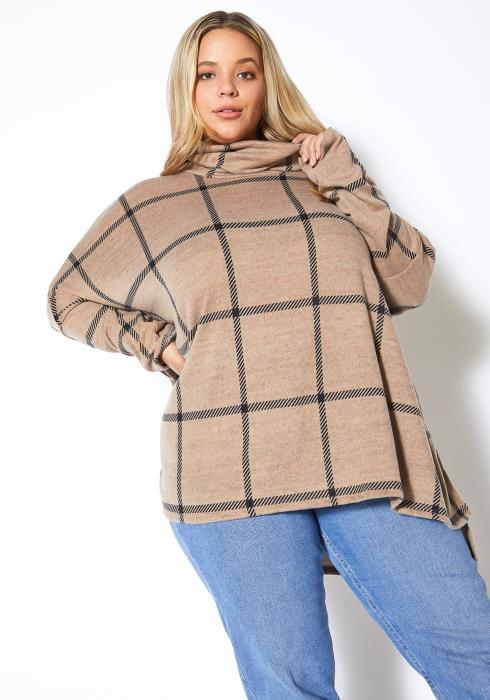 Asoph Plus Size Turtle Neck Oversized Sweater Top