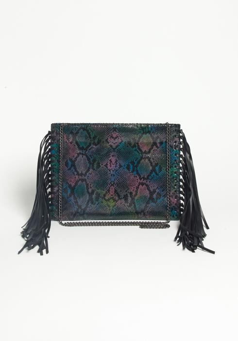 Asoph Jungle Snakeskin Crossbody Fringe Clutch