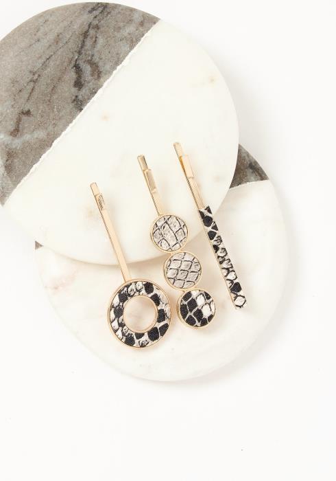 Asoph Triple Gold Snakeskin Hair Pins