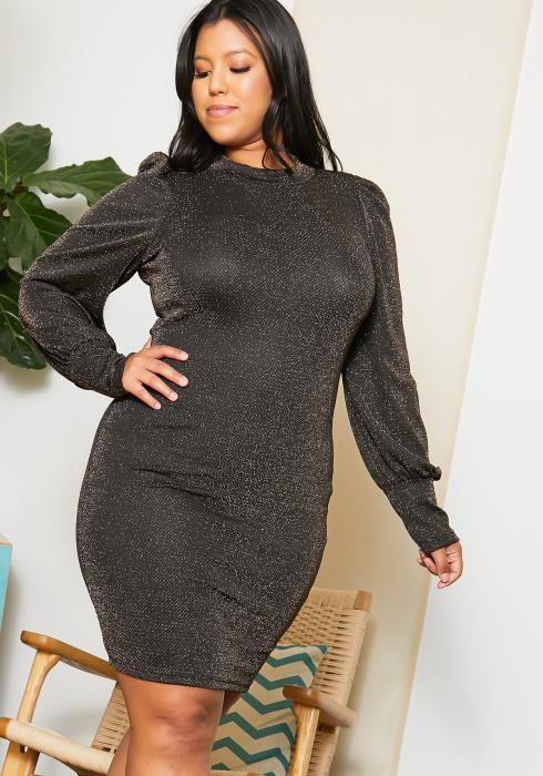 Asoph Plus Size Shiny Lurex Party Dress